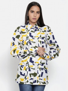 Zinniars Printed White Formal Full Sleeve Shirt with Pintucks at Front (Z-2x-TnB-009A)