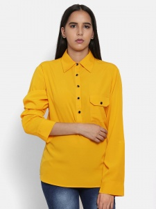 Zinniars Designer Solid Yellow Shirt With Patch Pocket (Z-2X-TnB-008A)