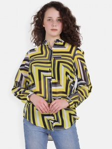 Abstract Line Pattern Shirt For Women (ZINR FS-2X-01)