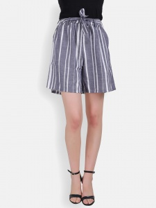Cotton Linen Grey & Cream yarn Dyed Stripe Shorts For Women (Zinn-2X-SHORT-001)