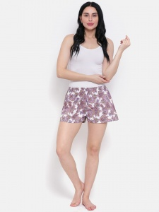 Designer White Shorts With Lavender Print Cotton Blend Night Shorts Ideal For Women (Z-NS-003)