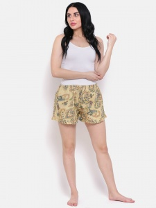 Stylish Beige Multi Colour Printed Cotton Blend Night Shorts Ideal For Women (Z-NS-004)