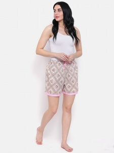 Floral Printed Elegant Comfortable Cotton Blend Night Shorts Ideal For Women (Z-NS-005)