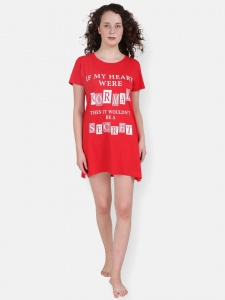 Red Girl's/Women's Cotton Knitted- front Placement Printed- Long Night T-shirt  from Future Dreams (Zinn-ND-DU-001A)