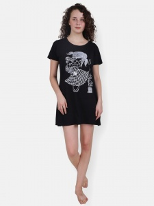 Black Girl's/Women's Cotton Knitted- front Placement Printed- Long Night T-shirt from Future Dreams (Zinn-ND-DU-001C)
