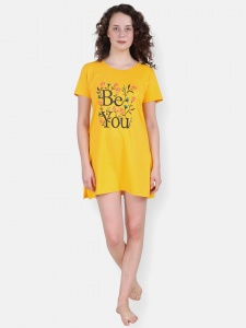Yellow Girl's/Women's Cotton Knitted- front Placement Printed- Long Night T-shirt from Future Dreams (Zinn-ND-DU-001E)