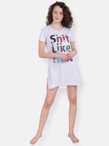 Light Grey Girl's/Women's Cotton Knitted- front Placement Printed- Long Night T-shirt from Future Dreams (Zinn-ND-DU-001G)