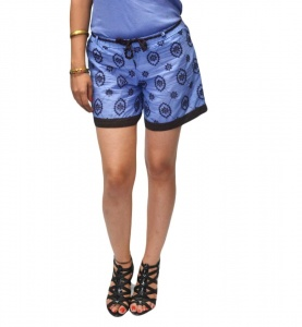 Designer Day Shorts With Embroidery And contrast trim For Women (S9-W-HDS-02)