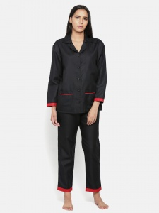 Zinniars Cotton Rich Night Suit Front Open Shirt with Pajama (Z-2X-PJ-Pajama-210A)