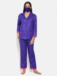 Zinniars Cotton Rich Night Suit Front Open Shirt with Pajama (Z-2X-PJ-Pajama-210D)