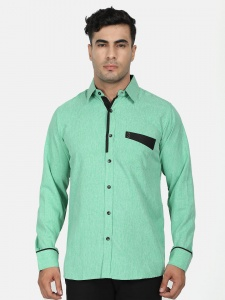 Men Solid Casual ,Semi-Formal Polyester Blend Shirt For Men(Green & Black)  ( S9-FS-108G)