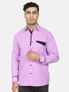 Men Solid Casual-semi Formal Polyester Blend Shirt For Men(Lavender & Black)  (S9-FS-108F)