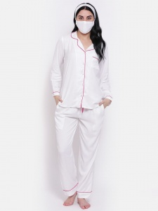 Zinniars Solid White Rayon Night Suit With Contrast Pink Piping (Z-2X-PJ-PAJAMA-207B)