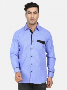 Men Solid Casual, Semi-Formal Polyester Blend Shirt For Men(Blue & Black)