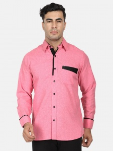Men Solid Casual, Semi- Formal Polyester Blend Shirt For Men(Pink & Black)