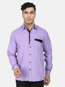 Men Solid Casual, Semi- Formal Polyester Blend Shirt For Men(Lilac & Black)