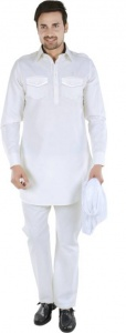 S9 Men Ivory White Solid Pathani Kurta ( S9-M-PK-202E)
