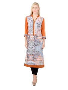 SRK Printed Womens A-line Kurti (Orange)