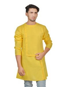 Men Yellow Colored Solid A-Line Asymmetrical opening Kurta