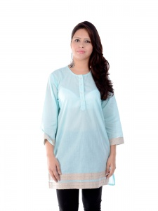SRK Casual Solid, Embroidered Lace Women's  SEE THRU Kurti  (Light Blue, Beige)