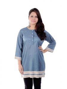 SRK Casual Solid, Embroidered Women's Kurti  (Grey, Beige)