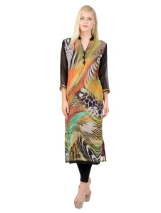 SRK Printed Womens A-line Kurti (Brown)