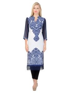 SRK Solid Womens A-line Kurti (Sky Blue-white) SRK-mich-0916