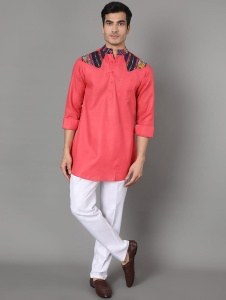 Men Stylish Red And Multi Color Pathani Kurt And White Pajama Set (S9-KP-341A)