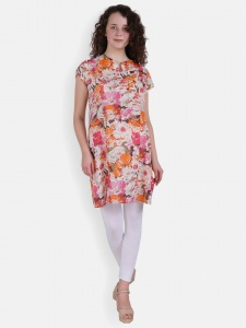 Stylish Floral Printed Kurti With Round Neck (SRK-2X-006)