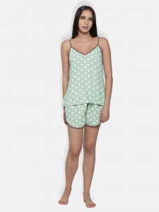 Stylish Green Polka Dot Printed Cami And Shorts Set For Ladies From The House Of Zinniars (Z-2X-Camiset-205B)