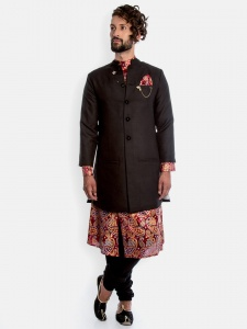 Men 6 Piece Set- Foil Khadi Traditional Party mutli colored (S9M-IWS-007A )Full sleeved Kurta with solid Pajama & Long Jacket set