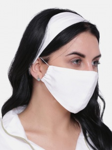 UNICARRESS Elegant Combo Set Of Solid White Mask And Hairband For Women (UC-HB-FM-001A)