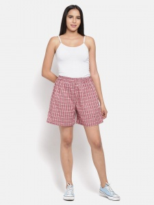 Stylish Red Checkered  Printed Night And Day Shorts (Z-NS-08)