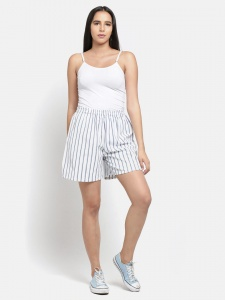 Stylish White Stripe Printed Night And Day Shorts (Z-NS-07B)