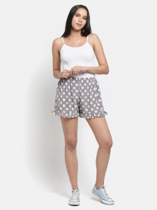 Subtle Ivory Polka Print on Grey base -  Night & Day Shorts For the Fashionable Lady  (Z-NS-09)