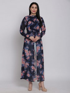 Printed Navy Georgette Maxi Full sleeves Top With Round Neck For Ladies (SRK-2X-DU-006A)