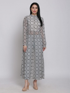 Printed Grey Georgette Maxi Full sleeves Top With Round Neck For Ladies (SRK-2X-DU-006B)