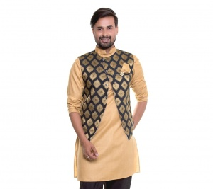 Men Beige Kurta With Designer Jacket ( S9-M-IWS-201O-WC-69A4)