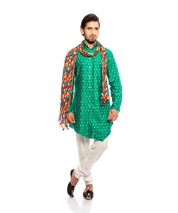 Men Green & Golden Jacquard Woven Designer Kurta  with white Churidaar Pajama WITH STOLE (S9-KP-JDOB-202B3)
