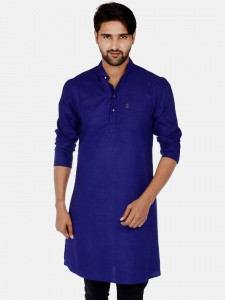 Men Navy Blue Solid Straight Kurta (S9-MK-201Q)