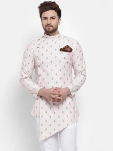 Designer all over Printed Mercerised Cotton Based A- line Kurta with Diagonal hem and Contrast Pocket square.(S9-MK-705A)