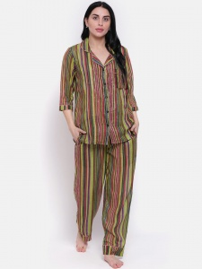 Zinniars Stylish high summer Hand Printed Stripe on thin Cotton  Lurex Night  Suit Set With Lapel Collar And 3/4 Sleeves,See thru (Z-2X-PJ-PAJAMA-202B)
