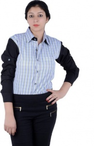Women's Checkered, Solid Casual Black, White Shirt (S9-W-FS-2004)