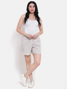 Stylish Beige Checkered  Printed Night And Day Shorts (Z-DS-002B)