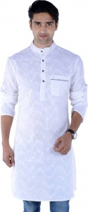 MEN Embroidered Men's A-line Kurta (White) S9-MK-241A
