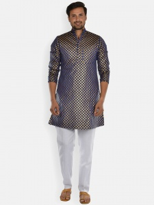 Men navy blue & Golden Jacquard Woven Designer Kurta  with white Pajama S9-KP-19-24C