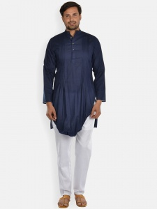 Navy Blue double cowl Kurta with white Pajama S9-KP-19-15A