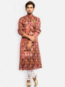 Men  Designer Kurta (multi colored Khadi foil Print)with white Pajama (S9-IWS-ECON-1)