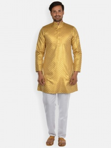 Men Golden Jacquard Woven Designer Kurta  with white Pajama S9-KP-19-24A