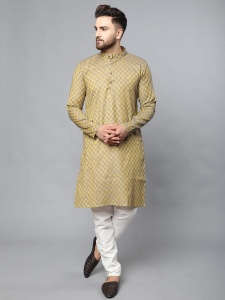 Classic A-Line Full Sleeves Kurta With Antique Buttons On Chest For Men With The Rich Taste (S9-VM-KP-710A/Mustard)